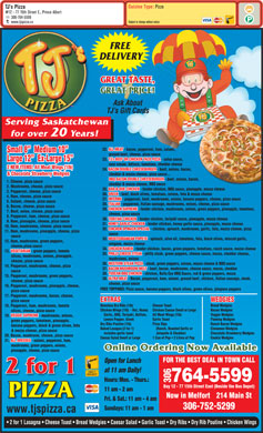 T J's Pizza (306-764-5599) - Menu