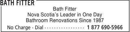Bath Fitter (902-454-9228) - Annonce illustrée - Bath Fitter Nova Scotia's Leader in One Day Bathroom Renovations Since 1987