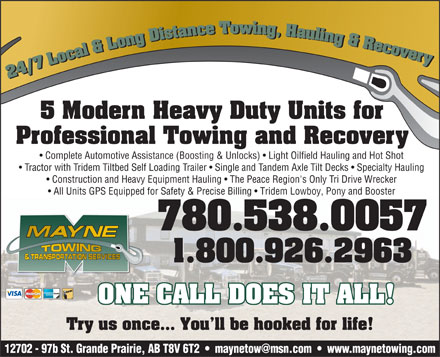 Mayne Towing &amp; Transportation Services Ltd (780-357-3910) - Display Ad