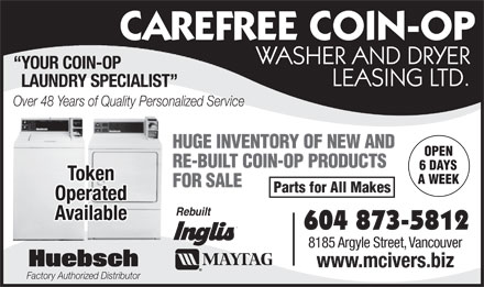 McIver's Coin-Op Washer & Dryer Leasing (604-873-5812) - Annonce illustrée