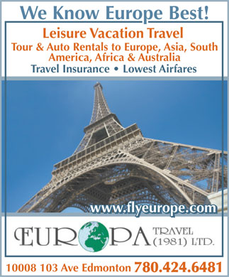 Europa Travel Ltd (780-424-6481) - Annonce illustrée