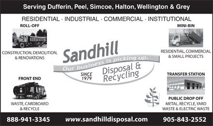 Sandhill Disposal & Recycling Inc (1-877-461-4255) - Display Ad