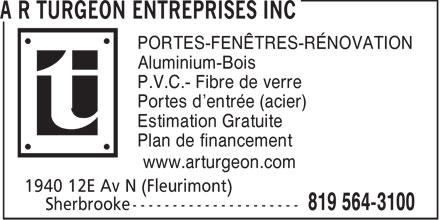 A r turgeon entreprises inc 1940 12e av n sherbrooke qc for Fenetre bonneville