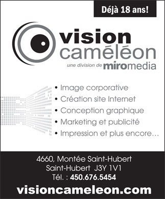 Vision Cam&eacute;l&eacute;on (450-676-5454) - Annonce illustr&eacute;e