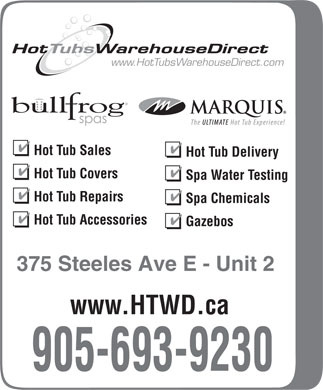 Hot Tub Warehouse Direct (905-693-9303) - Display Ad