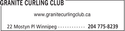 Granite Curling Club (204-775-8239) - Annonce illustrée - www.granitecurlingclub.ca