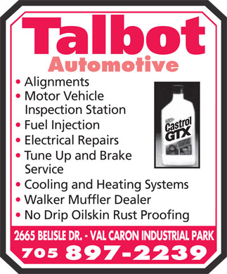 Talbot Automotive (705-897-2239) - Display Ad