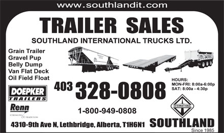 Southland International Trucks Ltd (403-359-9059) - Annonce illustrée - Since 1985