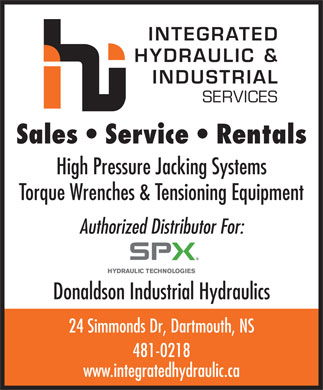 Integrated Hydraulic & Industrial Services (902-481-0218) - Display Ad