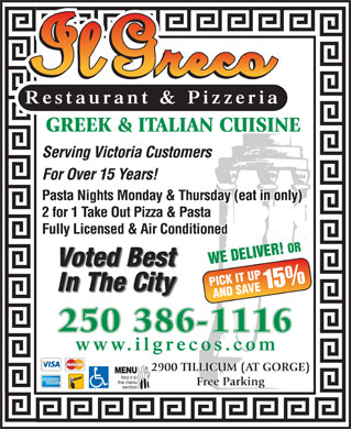 Il Greco (250-386-1116) - Display Ad
