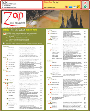 Zap Thai Restaurant (250-389-1845) - Menu