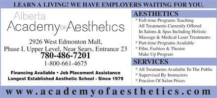 Alberta Academy Of Aesthetics (780-486-7201) - Annonce illustr&eacute;e
