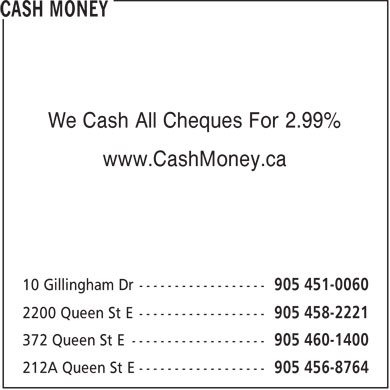 Cash Money (905-451-0060) - Display Ad - We Cash All Cheques For 2.99% www.CashMoney.ca