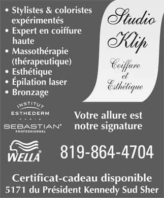 Studio Klip Coiffure et Esth&eacute;tique (819-864-4704) - Display Ad