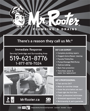 Mr Rooter Plumbing of Cambridge (519-621-8776) - Display Ad