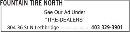 "Fountain Tire (403-329-3901) - Annonce illustrée - See Our Ad Under ""TIRE-DEALERS"""