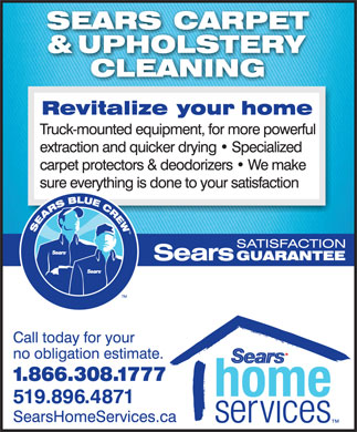 Sears Carpet & Upholstery Cleaning (519-896-4871) - Annonce illustrée