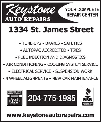 Keystone Auto Repairs (Wpg) (204-775-1985) - Annonce illustr&eacute;e - 204-775-1985 204-775-1985