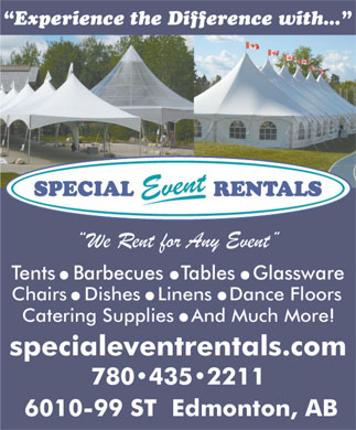 Special Event Rentals &amp; Sales (780-392-9831) - Annonce illustr&eacute;e