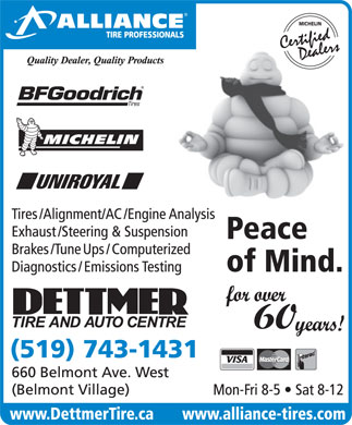 Dettmer Tire &amp; Auto Centre-Alliance Tire Professionals (519-743-1431) - Annonce illustr&eacute;e