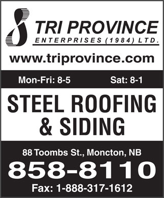 Tri Province Enterprises (506-858-8110) - Display Ad