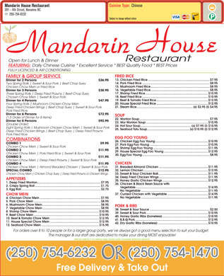 Mandarin House Restaurant (250-754-6232) - Menu
