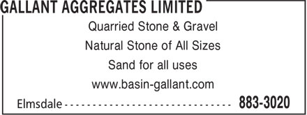 Gallant Aggregates Limited (902-883-3020) - Annonce illustrée - Quarried Stone & Gravel Natural Stone of All Sizes Sand for all uses www.basin-gallant.com
