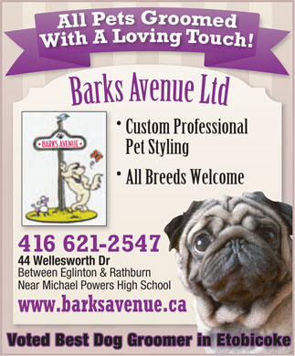 Barks Avenue (416-621-2547) - Annonce illustrée - Custom Professional Pet Styling All Breeds Welcome 416 621-2547 44 Wellesworth Dr Between Eglinton & Rathburn Near Michael Powers High School www.barksavenue.ca Voted Best Dog Groomer in Etobicoke