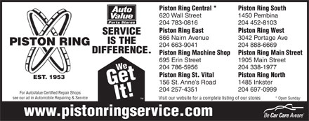 Piston Ring Service (204-783-0816) - Annonce illustrée - Piston Ring Central * Piston Ring South 620 Wall Street 1450 Pembina 204 783-0816 204 452-8103 Piston Ring East Piston Ring West VICE 866 Nairn Avenue 3042 Portage Ave IS THE PISTON RING 204 663-9041 204 888-6669 DIFFERENCE. Piston Ring Machine Shop Piston Ring Main Street 695 Erin Street 1905 Main Street 204 786-5956 204 338-1977 We Get Piston Ring St. Vital Piston Ring North EST. 1953 156 St. Anne s Road 1485 Inkster It! SER 204 257-4351 204 697-0999 For AutoValue Certified Repair Shops see our ad in Automobile Repairing & Service * Open Sunday Visit our website for a complete listing of our stores www.pistonringservice.com