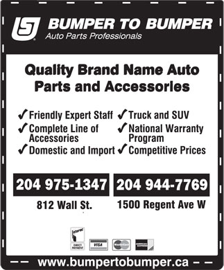 Bumper To Bumper (204-975-1347) - Display Ad