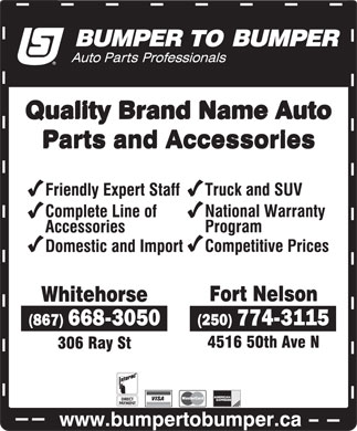 Bumper To Bumper (250-774-3115) - Display Ad