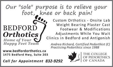 Bedford Orthotics Ltd (902-832-9292) - Display Ad - 832-9292