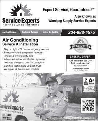 Service Experts Heating & Air Conditioning (204-988-4575) - Display Ad