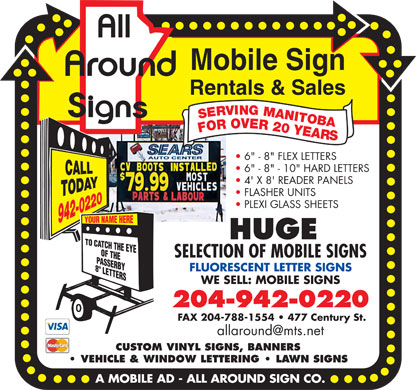 A Mobile Ad-All Around Sign Co (204-942-0220) - Display Ad