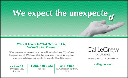 Cal LeGrow Insurance (709-722-3282) - Annonce illustr&eacute;e