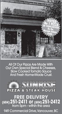 Sunrise Pizza & Steak House (604-251-2411) - Annonce illustrée