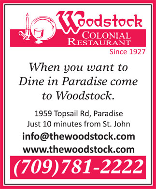 Woodstock Colonial Restaurant (709-701-2357) - Display Ad