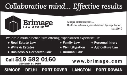 Brimage Law Group (519-582-0160) - Annonce illustrée - 160 Main St. Delhi