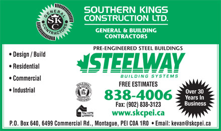 Southern Kings Construction Ltd (902-838-4006) - Annonce illustrée - Over 30 Years In Business Over 30 Years In Business