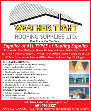 Weather Tight Roofing Supplies Ltd 604 740 3927