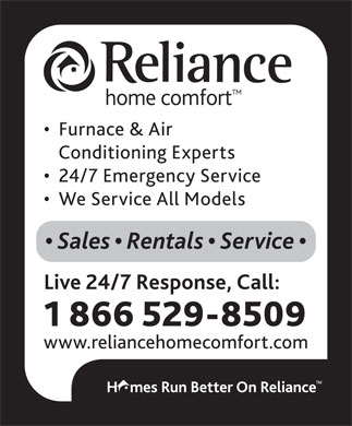 Reliance Home Comfort (1-866-529-8509) - Display Ad