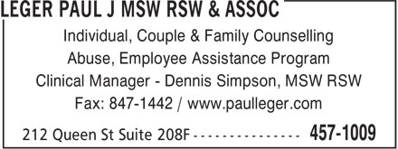 Leger Paul J MSW RSW &amp; Assoc (506-457-1009) - Display Ad - Individual, Couple &amp; Family Counselling Abuse, Employee Assistance Program Clinical Manager - Dennis Simpson, MSW RSW Fax: 847-1442 / www.paulleger.com