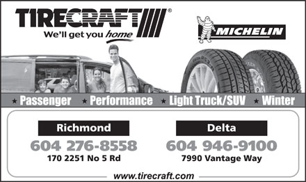 Tirecraft Auto Center (604-276-8558) - Annonce illustrée