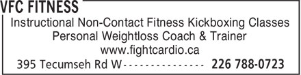 VFC Fitness (226-788-0723) - Display Ad - Instructional Non-Contact Fitness Kickboxing Classes Personal Weightloss Coach & Trainer www.fightcardio.ca