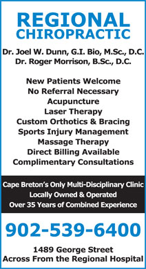 Regional Chiropractic & Physiotherapy (902-539-6400) - Display Ad