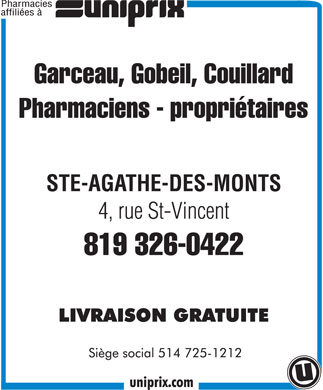 Uniprix Garceau, Gobeil, Couillard (Affiliated Pharmacy) (819-326-0422) - Display Ad