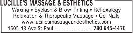 Lucille's Massage & Esthetics (780-645-4470) - Annonce illustrée - Waxing • Eyelash & Brow Tinting • Reflexology Relaxation & Therapeutic Massage • Gel Nails www.lucillesmassageandesthetics.com