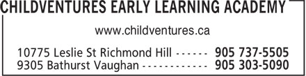 Childventures Early Learning Academy (289-809-0934) - Display Ad - www.childventures.ca
