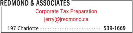 Redmond & Associates (902-539-1669) - Annonce illustrée - Corporate Tax Preparation jerry@jredmond.ca