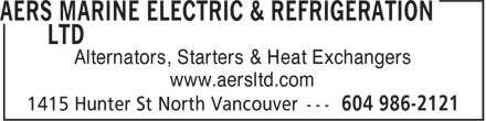 AERS Marine Electric & Refrigeration Ltd (604-986-2121) - Annonce illustrée - www.aersltd.com Alternators, Starters & Heat Exchangers